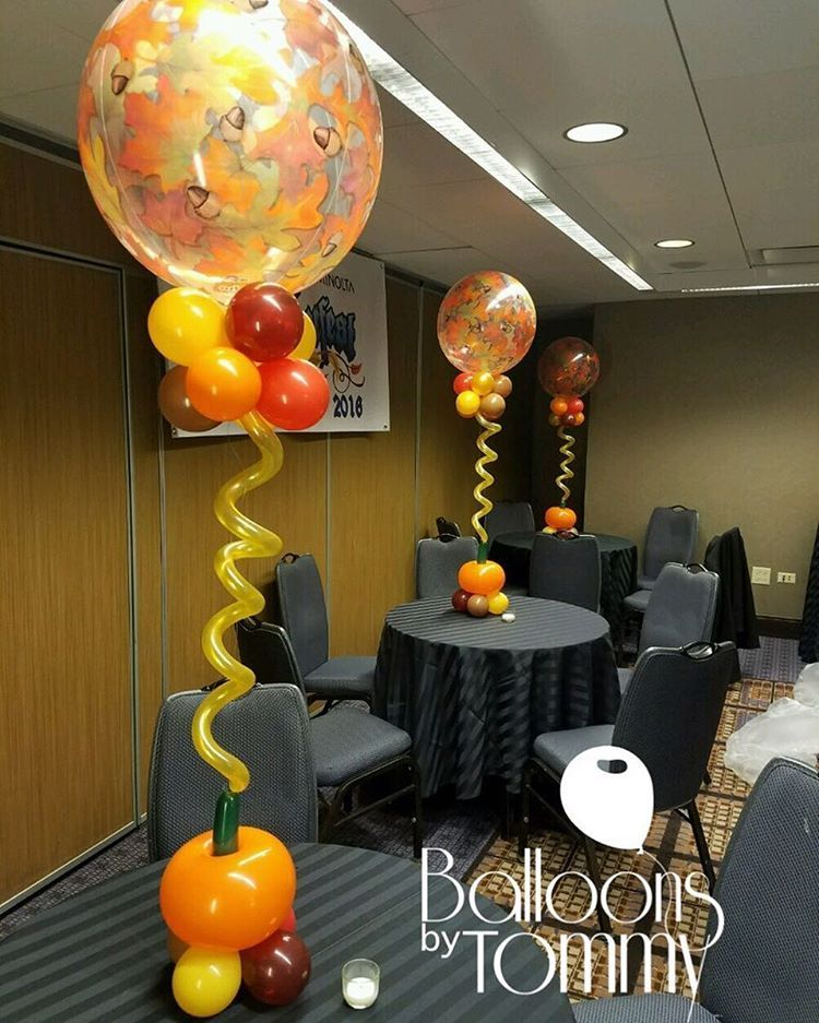 Fall Themed Balloon Centerpieces With Leaf Decorated