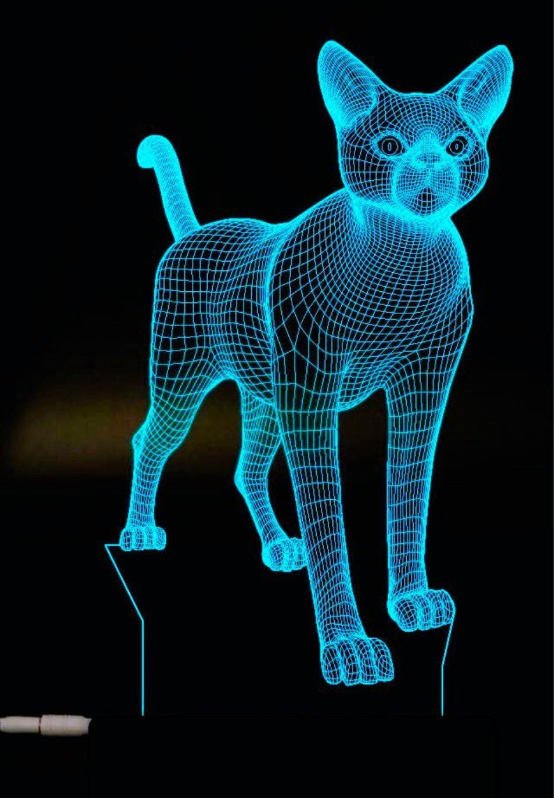 Cat 3d Illusion Acrylic Led Lamp This Cnc Files Dxf Cdr Etsy In 2020 3d Illusion Lamp 3d Illusions 3d Lamp