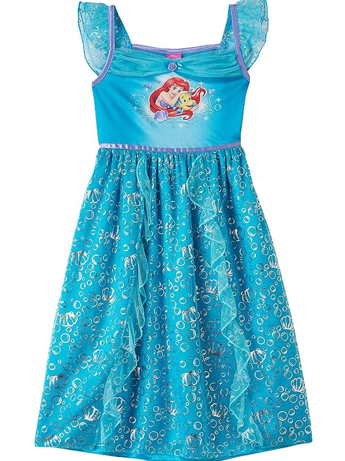 404caab13e The Little Mermaid Ariel Girls Fantasy Gown Nightgown Pajamas Toddler Little  Kid Big Kid Pull On closure Sublimated graphics on soft poly fabric Taped  neck  ...