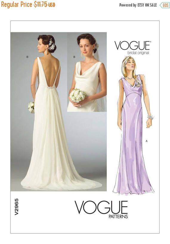 2965 Vogue Wedding Dress Pattern Cowl Neck Dress Plunging Vogue Patterns Wedding Dress Sewing Patterns Formal Dress Patterns