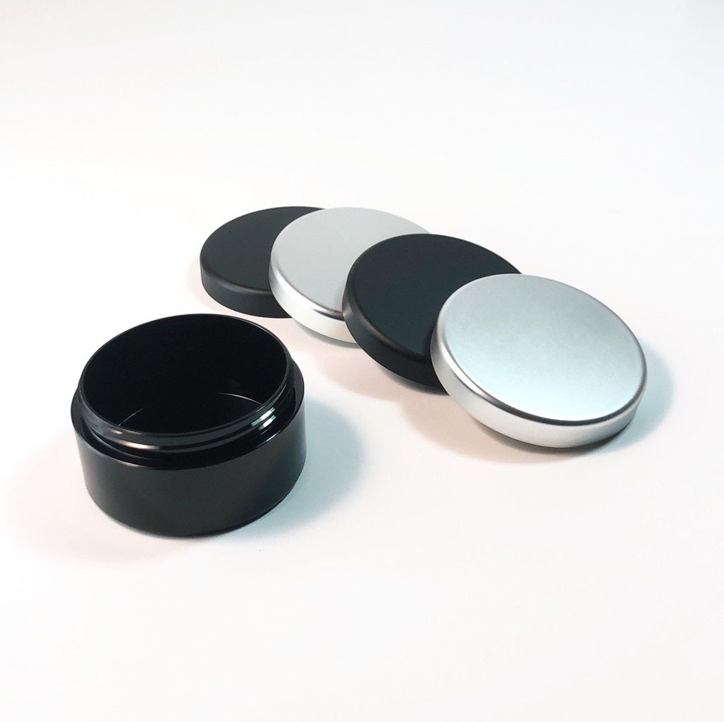 Cosmetic Jars Plastic Black Beauty Containers With Lids 30 Gram Matte Black Silver Lid In 2020 Cosmetic Jars Makeup Containers Black Silver