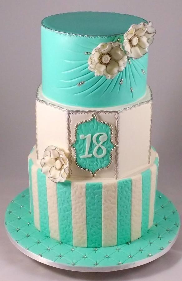 Tiffany Blue Prettiness Cake 18th Birthday Cake Fondant Cakes