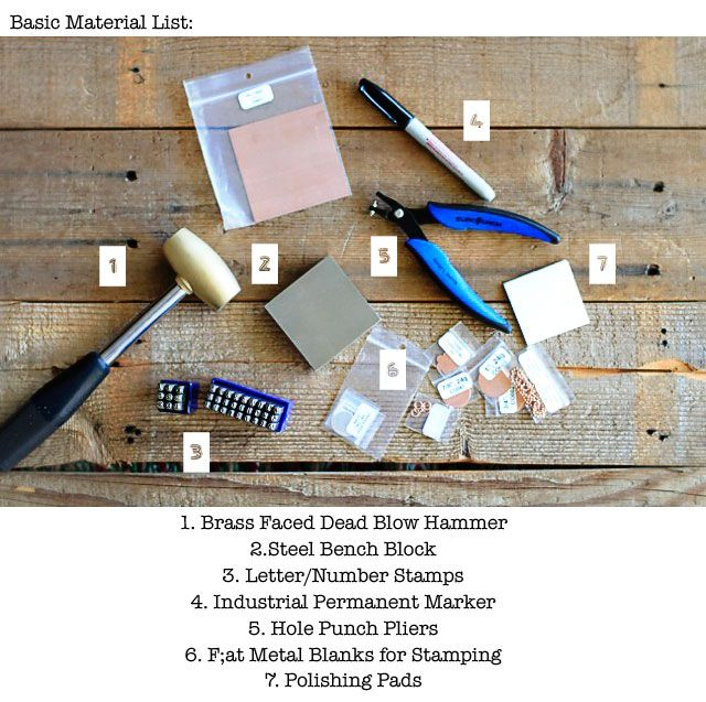 Materials Needed for  Hand Stamped Jewelry via lilblueboo.com