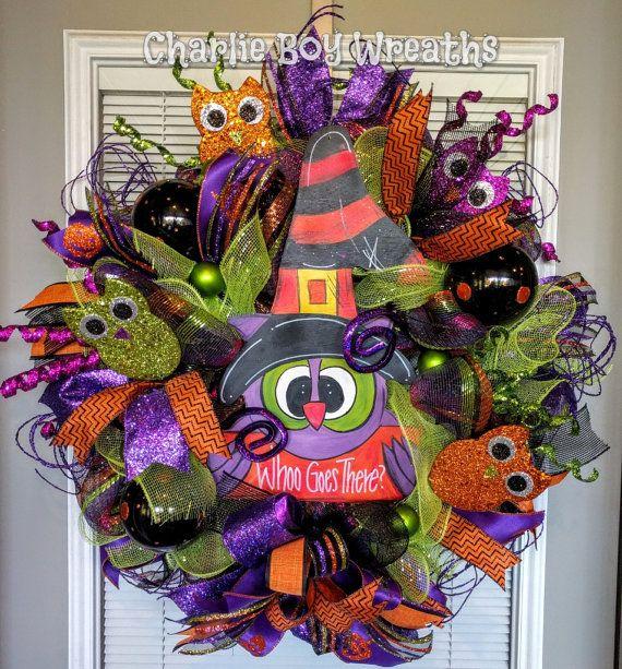 Owl Halloween Wreath Fun Halloween wreath by CharlieBoyWreaths