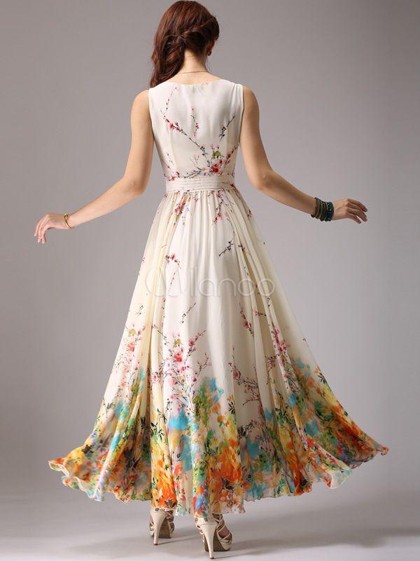 Schickes langes Kleid aus Chiffon mit U-Halsausschnitt und ...
