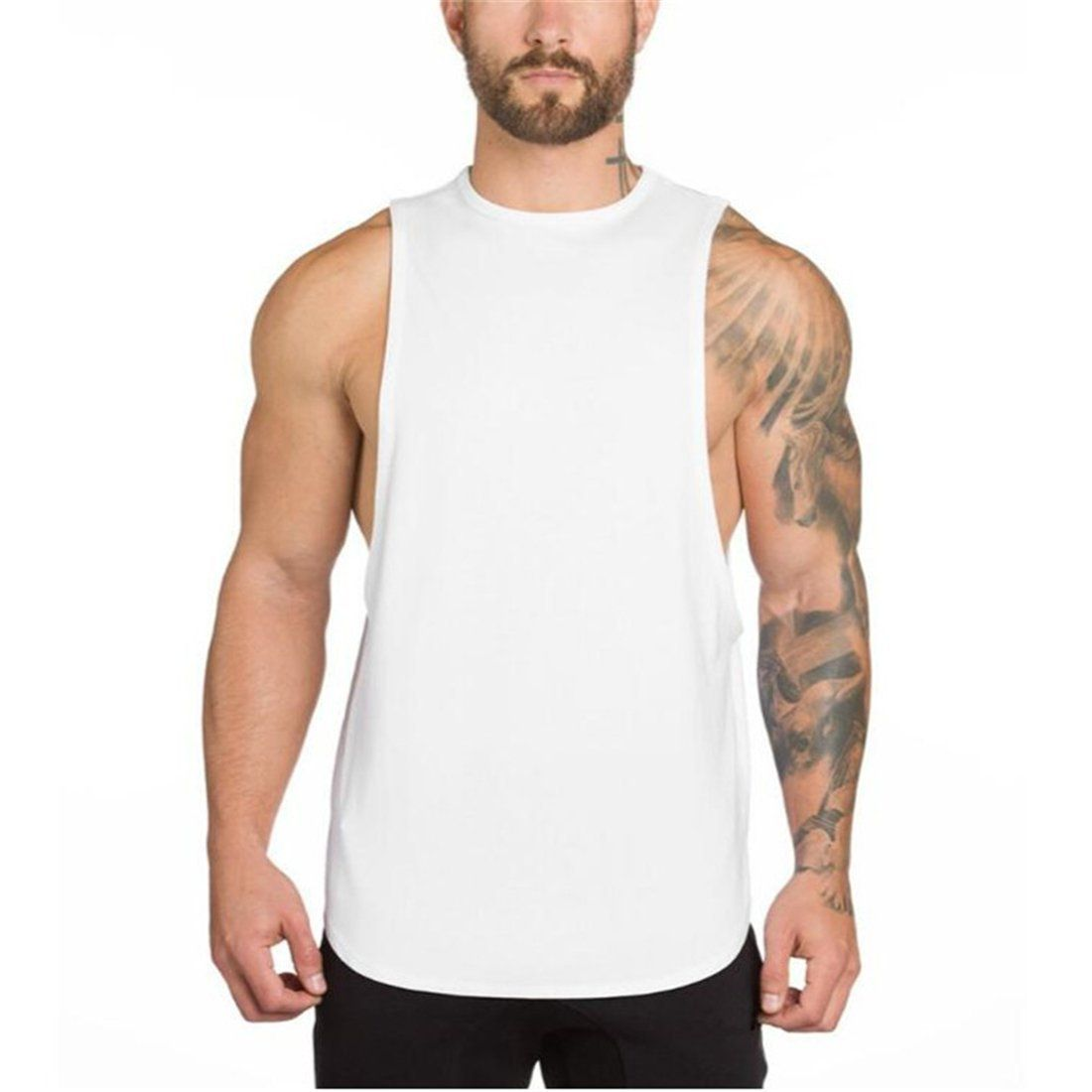 56dd24879 YeeHoo Men's Fitted Muscle Stringer Vest Cut Open Sides Workout Tank Tops  Gym Bodybuilding T-Shirts
