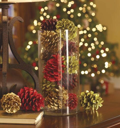 Instead Of Ornaments Use Colored Pine Cones In A Vase To Add An