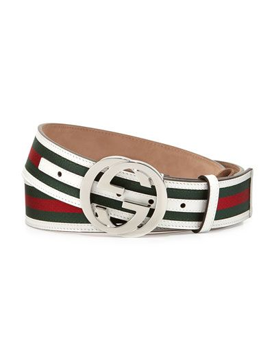 8d5ad3be8 ... interlocking G buckle. N2UB6 Gucci Green/Red/Green Web GG Belt, White