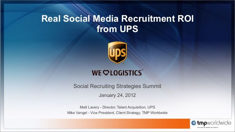 RealSocialMediaRecruitmentRoiFromUps By Mikevangel