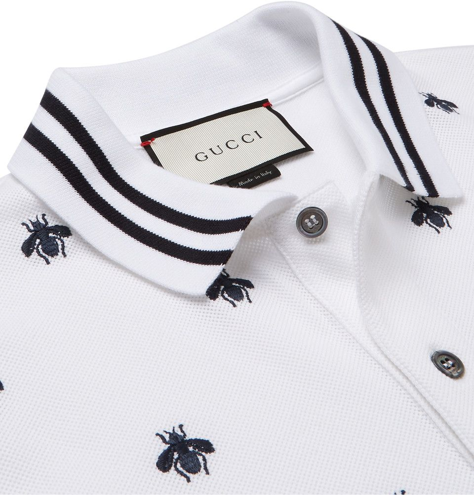 4acedca64d3 Gucci - Slim-Fit Embroidered Cotton-Blend Piqué Polo Shirt
