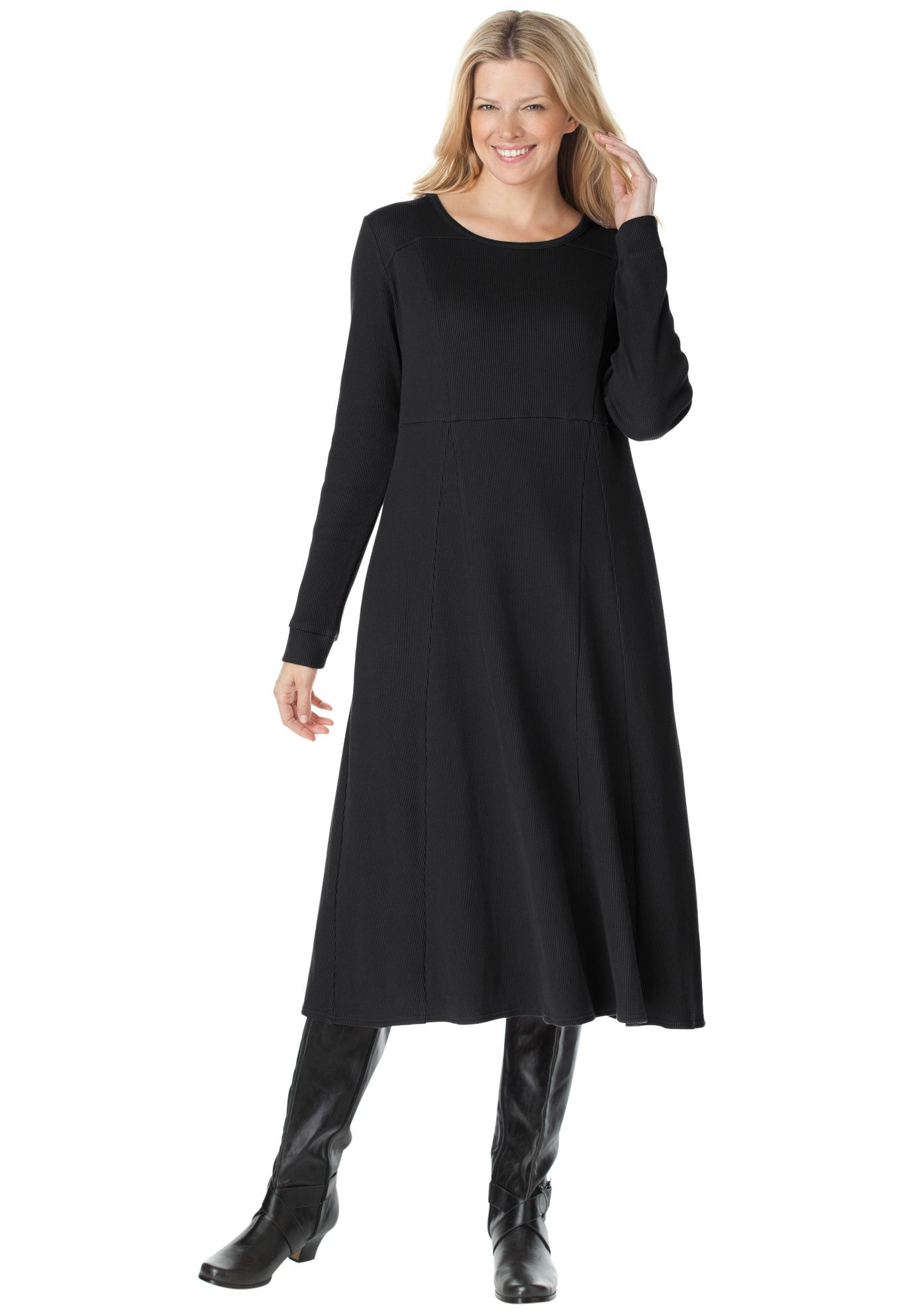 Thermal knit A-line dress   Plus Size Career Dresses   Woman ...