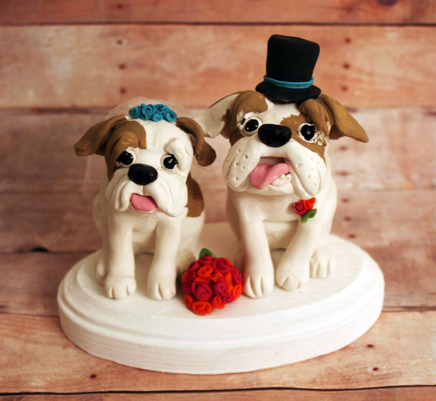medium resolution of english bulldog wedding cake toppers from cherry red toppers
