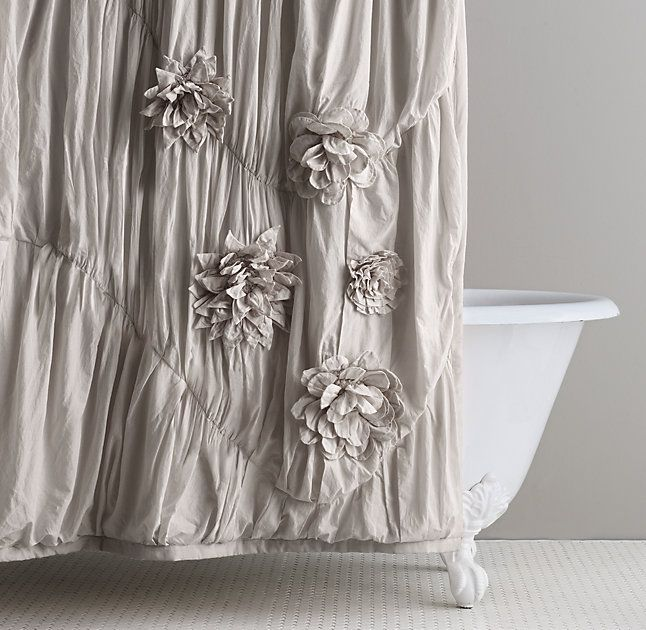 RH Baby U0026 Childu0027s Washed Appliquéd Fleur Shower Curtain:This Sweetly Sophisticated  Shower Curtain Is