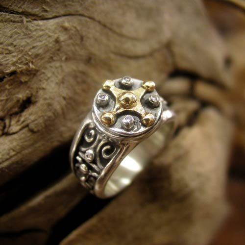 """This Venus Ring is created in the traditional design of ancient Mayan jewelers. Mayans prophesied this year's Venus transit event as the return of Quetzalcoatl """"feathered serpent"""" or 'god of the morning star' which is Venus, entering her morning star phase after uniting with the solar creative force. The planet Venus rules aesthetic appetite, love beauty & affection. Venus gained tremendous power while inside the Sun's disk, uniting with the light of consciousness."""