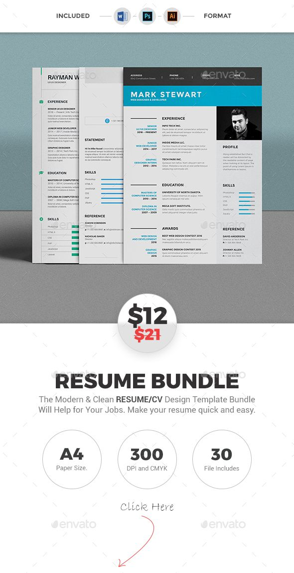 Resume Bundle Modern resume template, Modern resume and Template - different resume templates