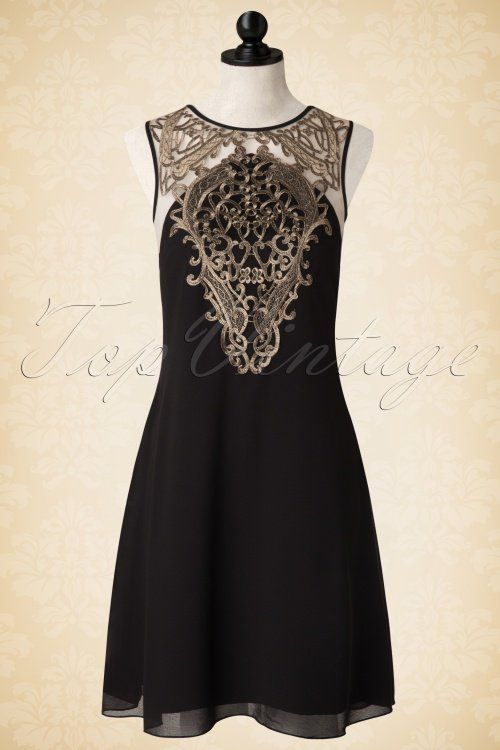 Little Mistress - 50s Agnes Dress in Black and Gold