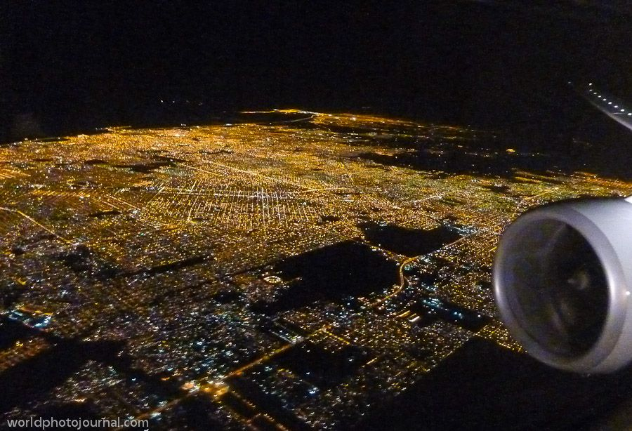 Buenos Aires aerial view at night.