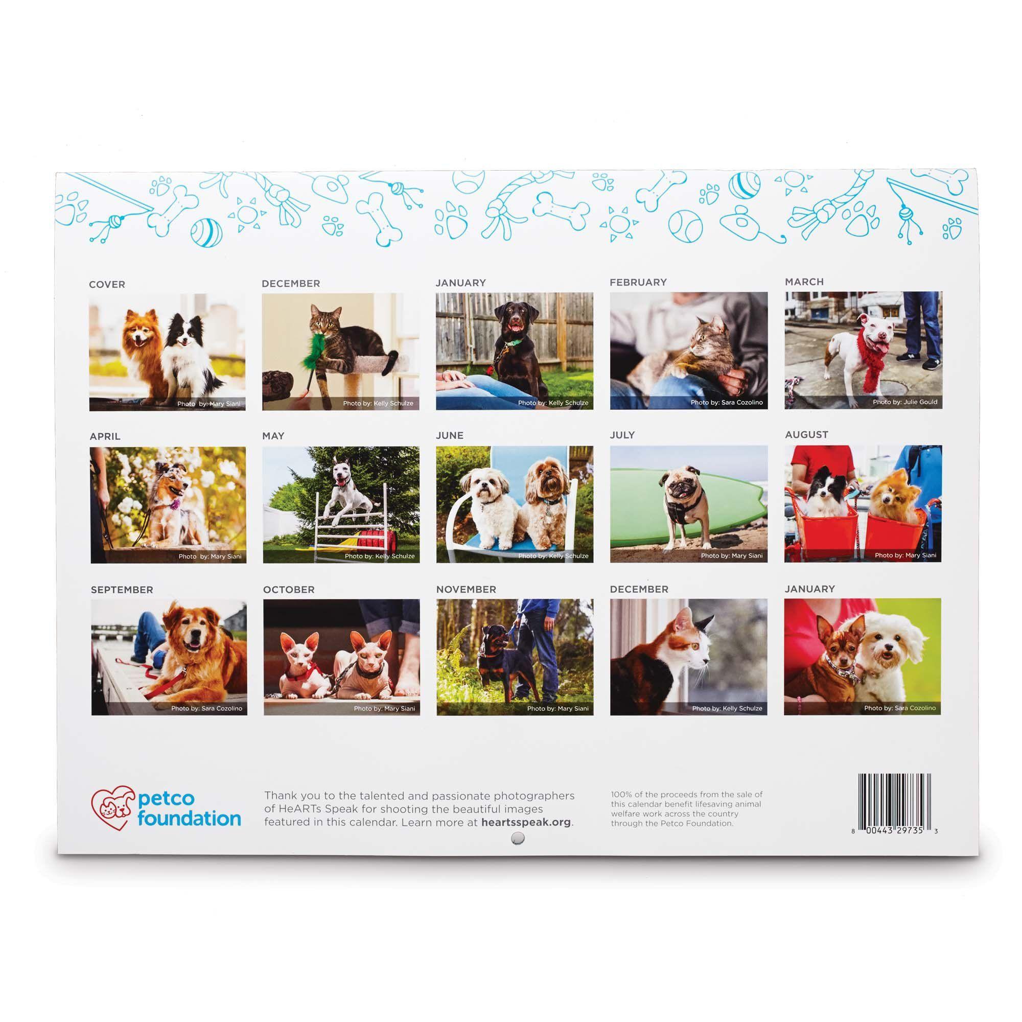 Petco Foundation 2018 Wall Calendar Dog calendar, Dog