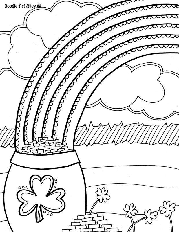 Doodle Pot of gold Coloring Sheet St Patrick\u0027s Day Pinterest