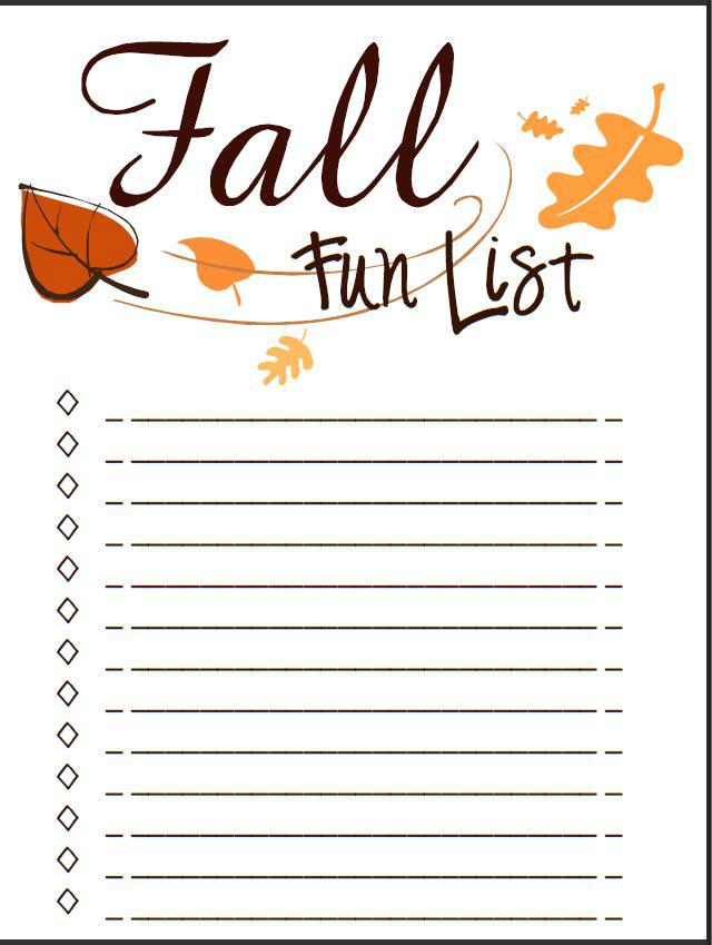 Blank Fall Bucket List Template #fallbucketlist