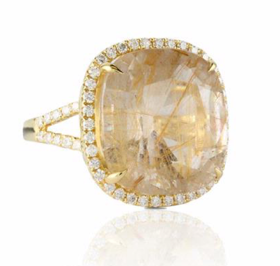 Doves Rutilated Quartz Ring With Diamonds Rutilated Quartz 18k Yellow Gold Ring Golden Rutilated Quartz