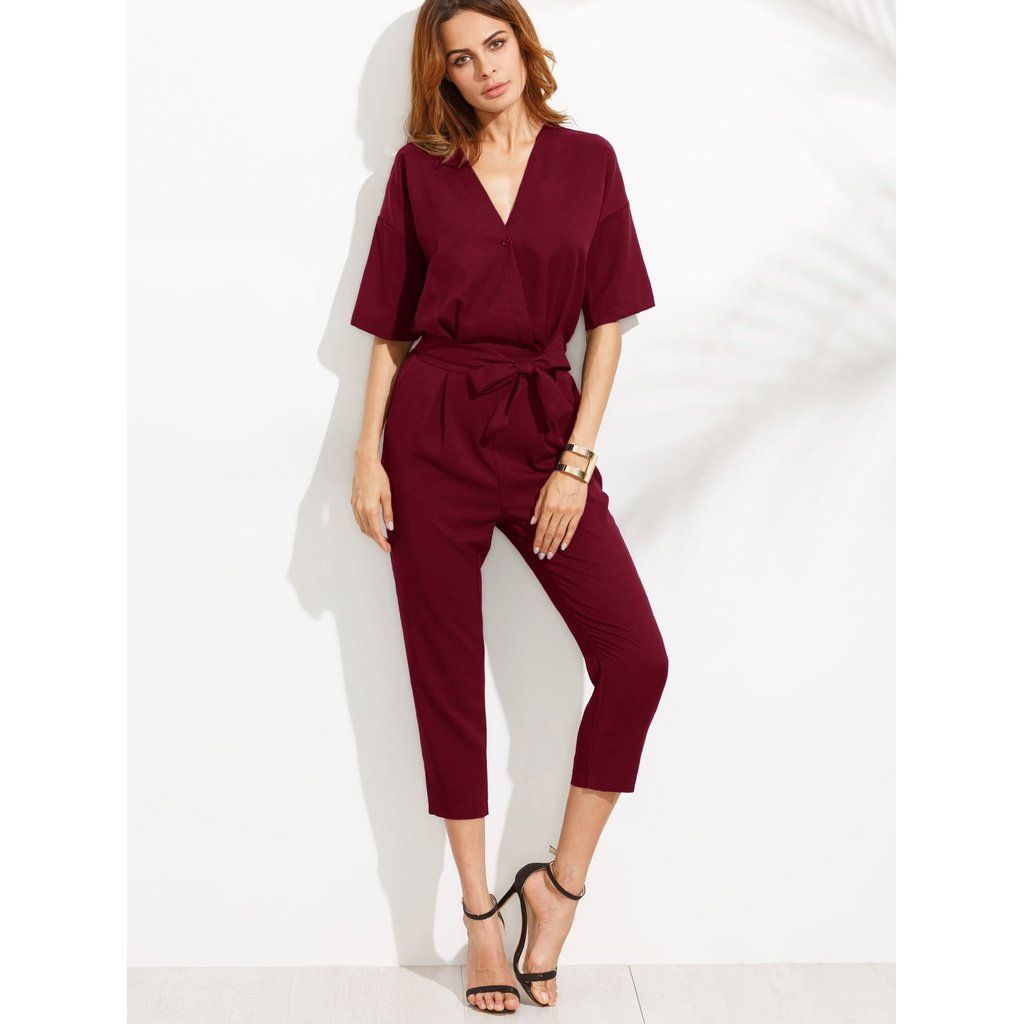 1ab0e42b087c V Neckline Drop Shoulder Self Tie Peg Jumpsuit