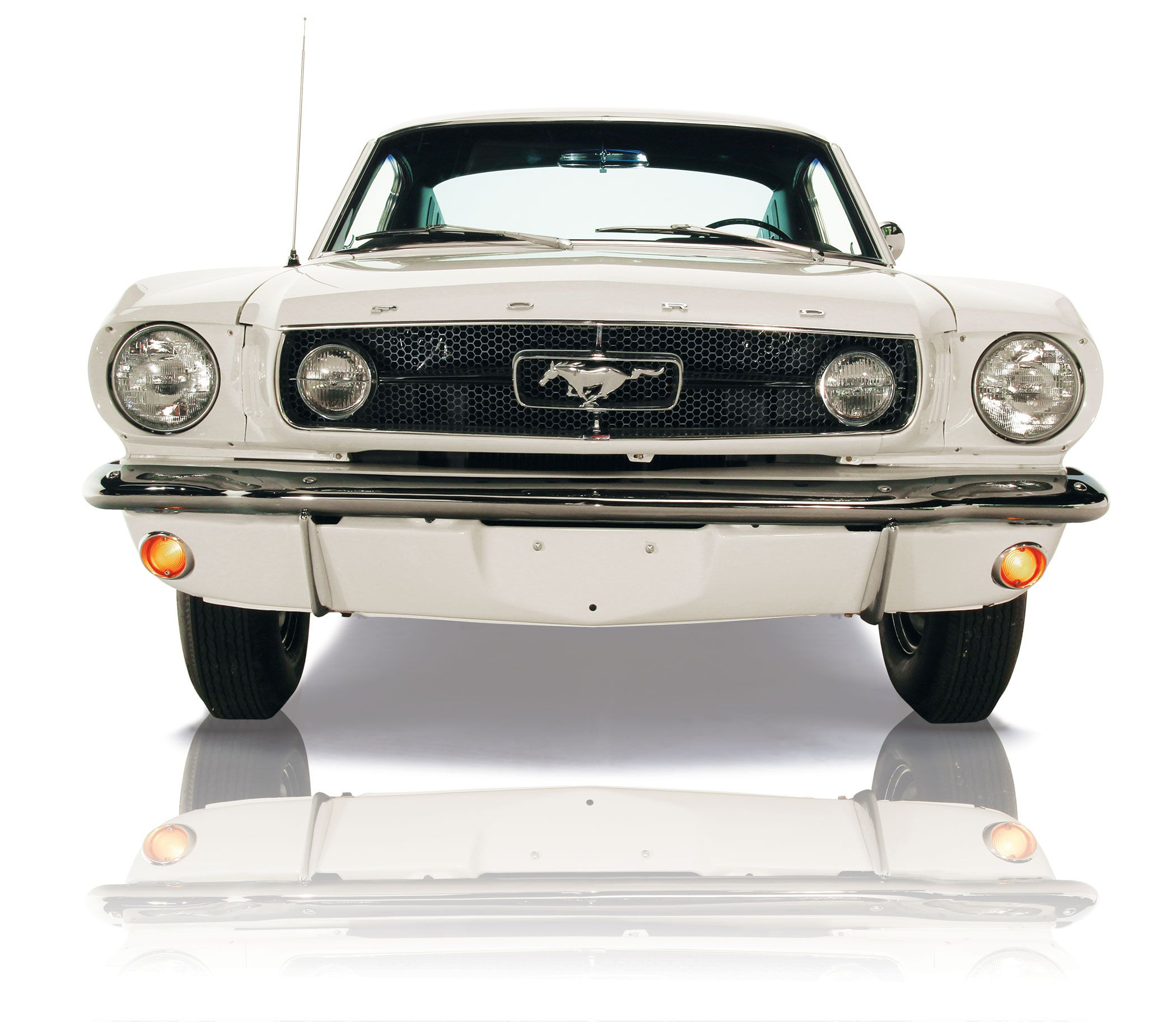 The 1965 Ford Mustang GT K Code Fastback in Wimbleton White from the