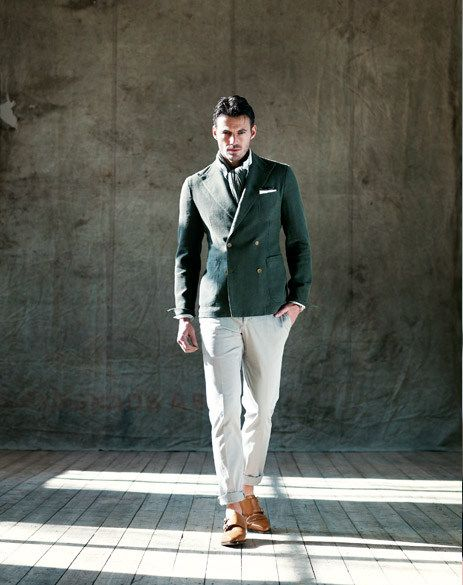 Green double breasted blazer with chinos. | Men's Fashion ...