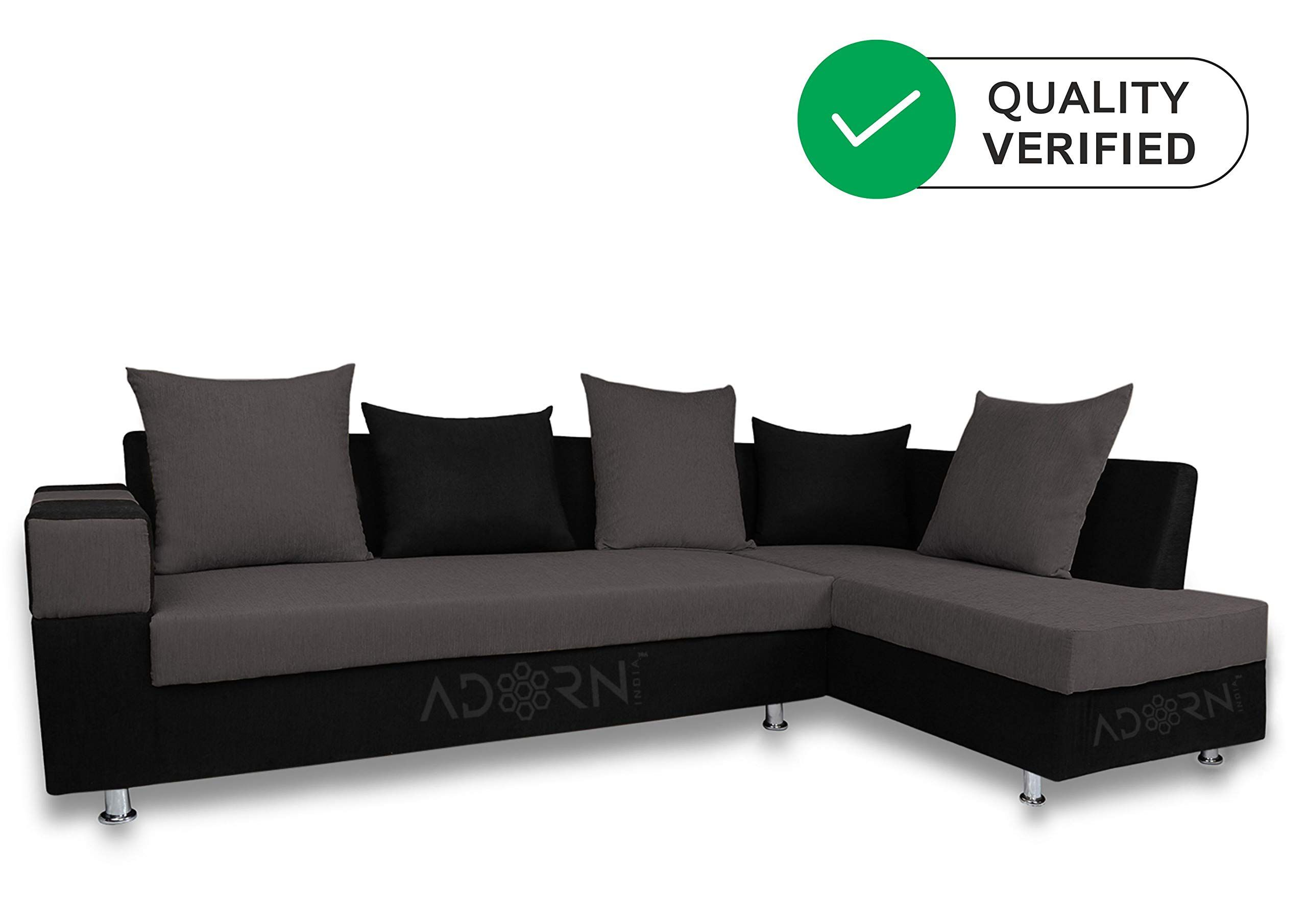 Adorn India Adillac 5 Seater Corner Sofa Right Side Grey Black Amazon In Electronics In 2020 5 Seater Corner Sofa Corner Sofa Seater