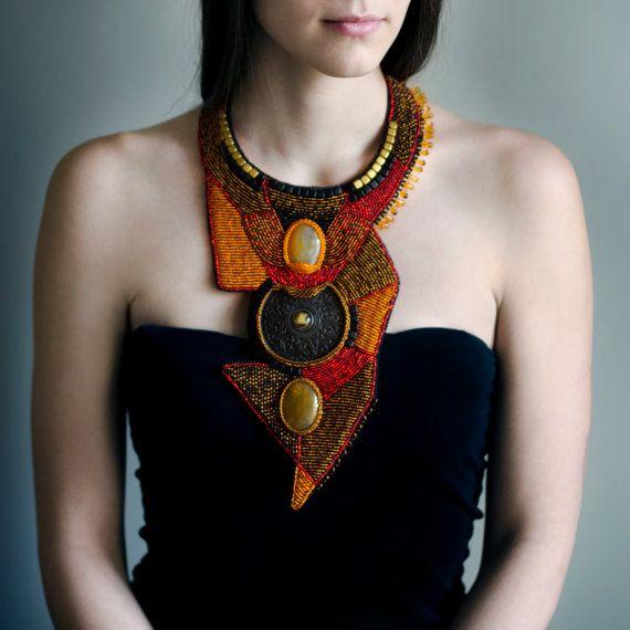 Oversized tribal ethnic necklace - collar, large long statement bohemian necklace, orange & brown African Jewelry, artisan boho neckwear