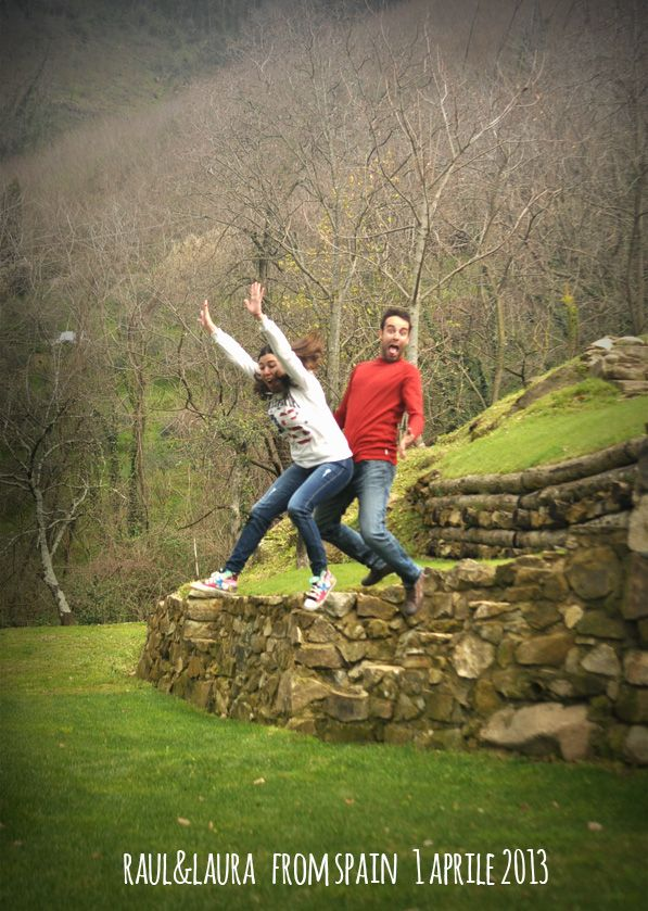 Raul & Laura 1 aprile 2013 jump for Forestaria Organic Farm in Lucca, Tuscany