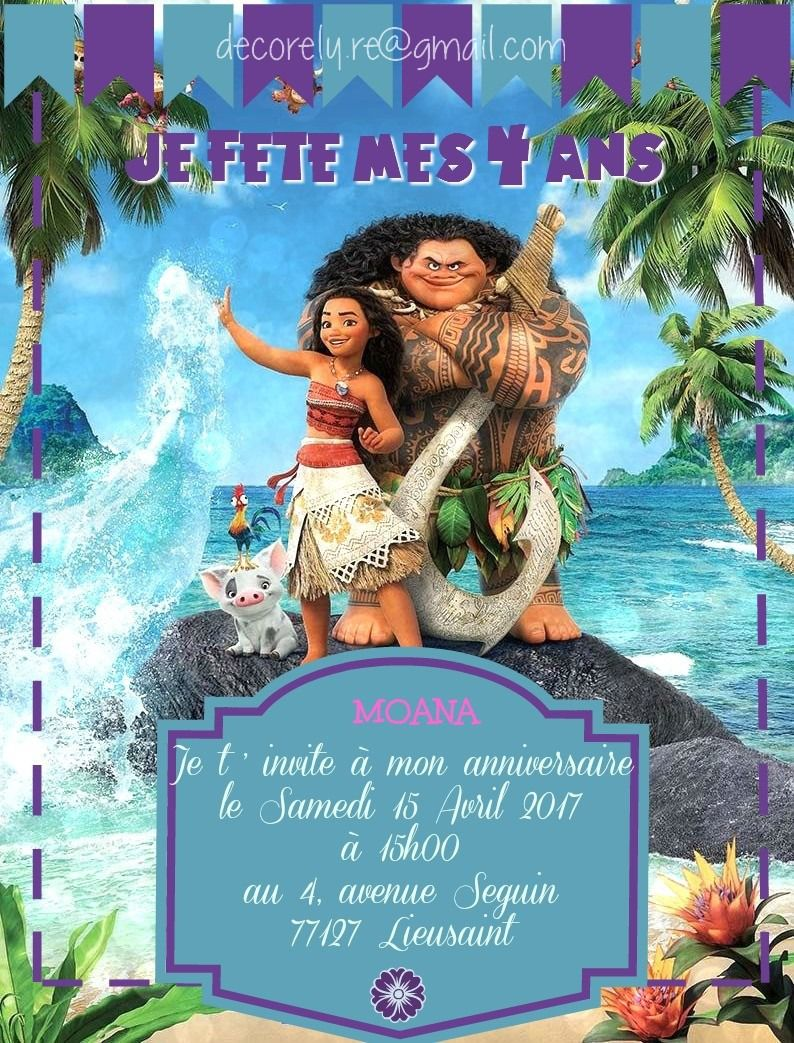 Carte Invitation Anniversaire Vaiana Kids Bday Pinterest