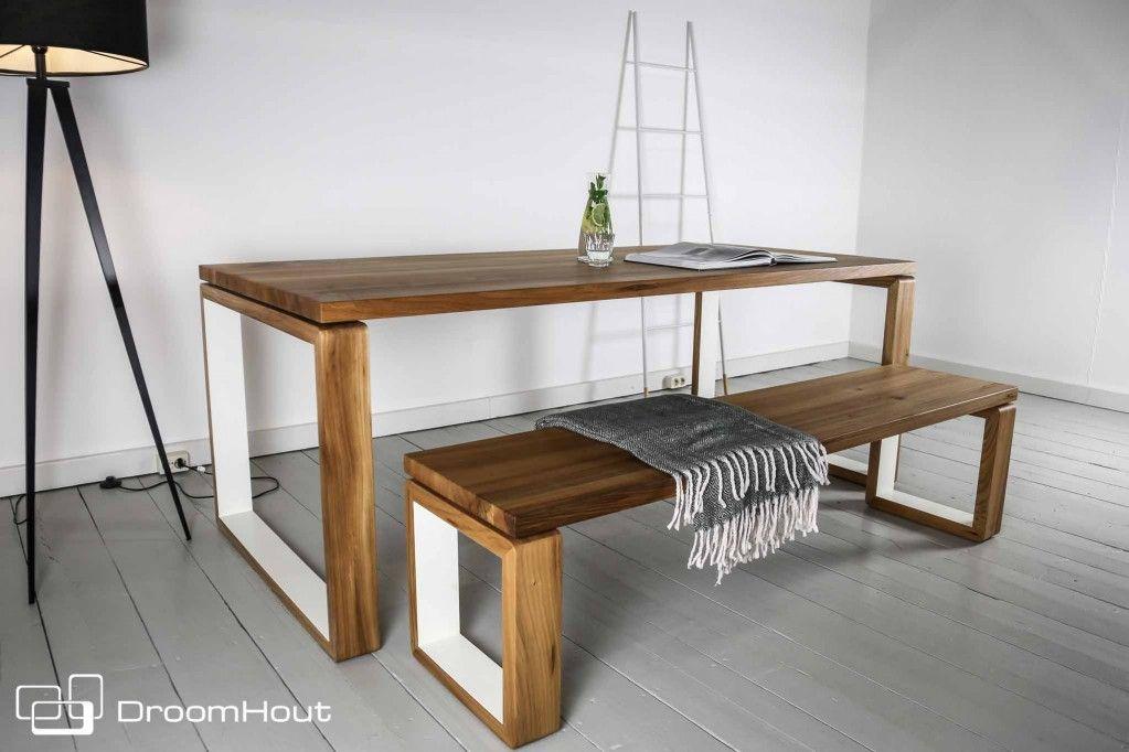 Te gekke retro tafel van iepenhout. retro interieur modern