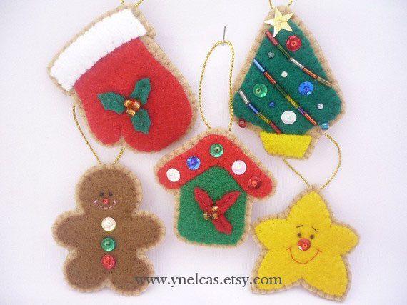 Felt Christmas Ornaments ONE Ornament by ynelcas on Etsy