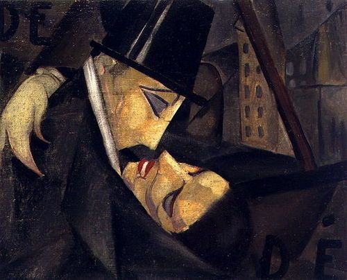 Tamara de Lempicka - The kiss    / A top hat. A dip. A city in the thrall of night.