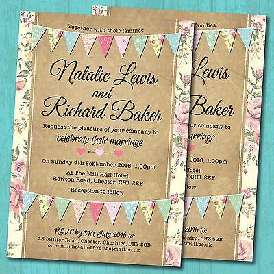 Personalised Wedding Day Evening Invitations Envelopes Pastel