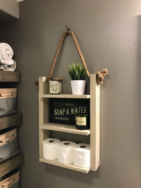 Bathroom Farmhouse Ladder Shelf Brown Walnut Large Modern Wood