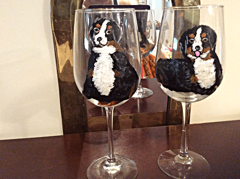 BORDER COLLIE DESIGN ON LARGE GOBLET WINE GLASS
