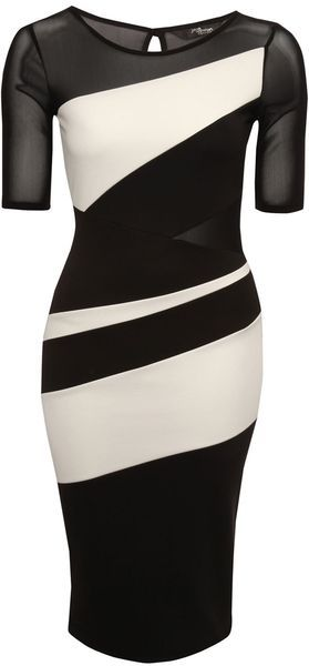 Jane Norman England Monochrome Colour Block Midi Dress - Lyst | My ...