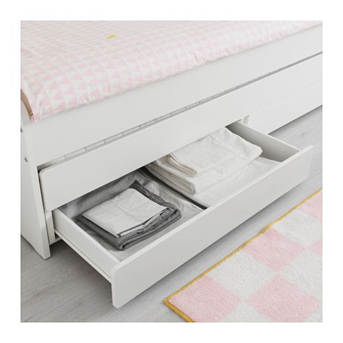 Slakt White Bed With Underbed And Storage 90x200 Cm Ikea Bed Frame Pull Out Bed Bed Storage
