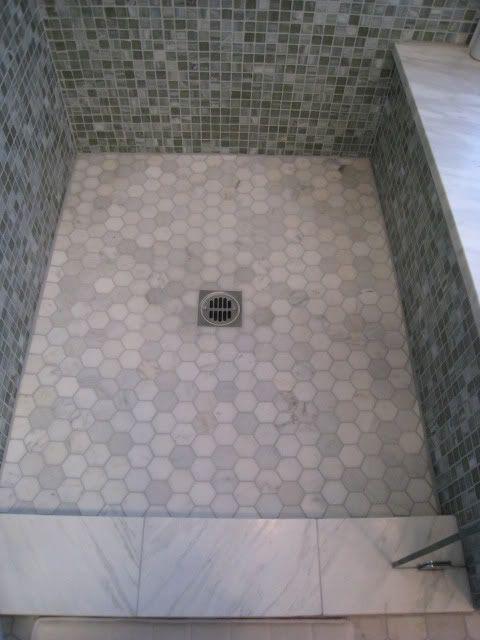 Hexagon Tile Shower Floor Decor Ideas Pinterest Tile Showers Marble Tile Shower And