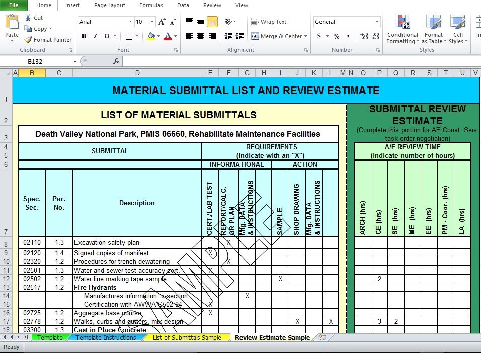 Professional Material List Excel Template Free Download | Excel