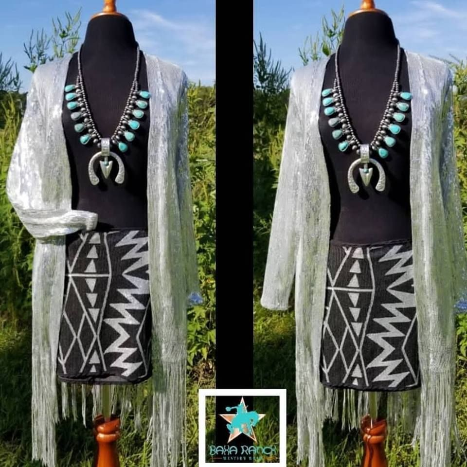 518b48f9f0 The Bellagio Silver Sequin Duster $139 Aztec sequin skirt $29 The Animas  Squash Blossom $69 WHO NEEDS A DISCOUNT CODE? #nfrfashion # baharanchwesternwear ...