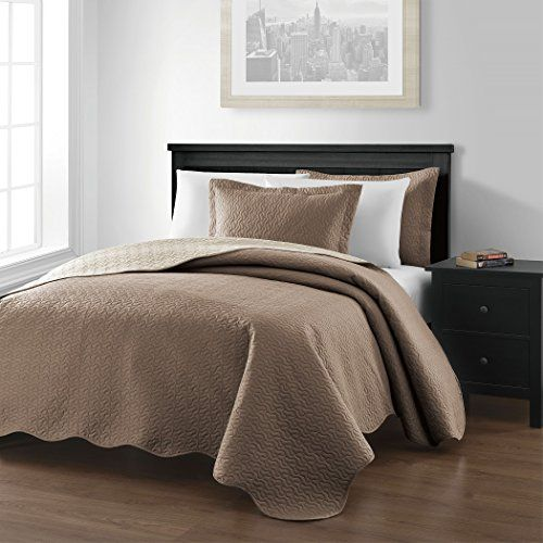 """Chezmoi Collection Mesa 3-piece Oversized (118""""x106"""") Reversible Bedspread Coverlet Set King, Taupe/Ivory ** Click on the image for additional details."""