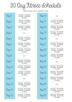 30 day exercise schedule something to add in to the