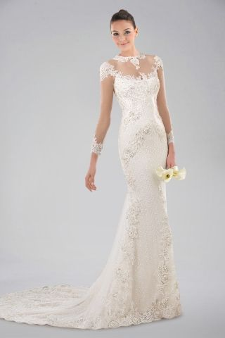 Noble Illusion Neckline Long Sleeve Wedding Dress with Lace Overlay ...