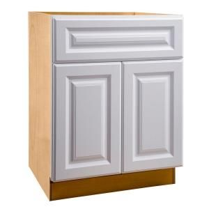 Home Decorators Collection Hallmark Assembled 27x34 5x24 In Sink Base Kitchen Cabinet With False Drawer Front In Arctic White Sb27 Haw The Home Depot Base Cabinets Home Decorators Collection Drawer Fronts