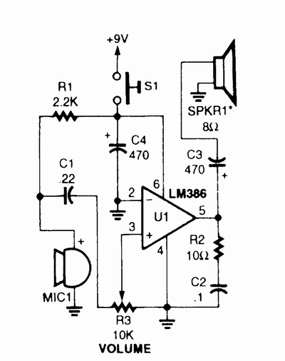Electronics Circuits Diagram | Simple Megaphone Circuit Diagram Electronic Circuits In 2018