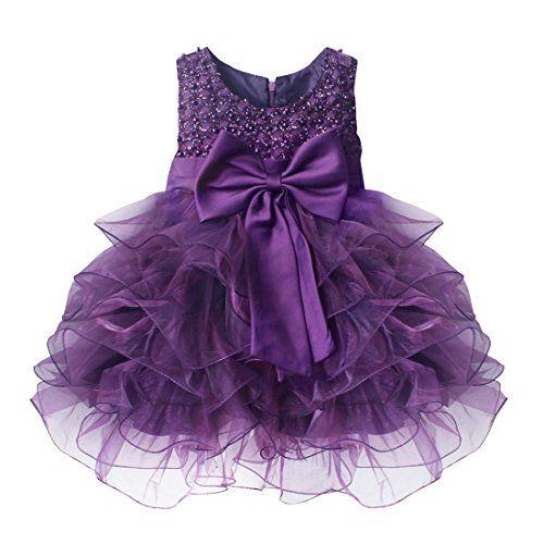 3cec75494c iEFiEL Vestidos de Princesa para Bebé Niña (3 Meses-4 Años) Boda Bautizo  Fiesta Varios Colores Morado 9-12 meses  iEFiEL  Vestidos  Princesa  para   Bebé ...
