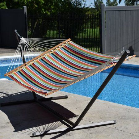 Vivere Sunbrella Quilted Double Hammock, Foster Surfside, Multicolor